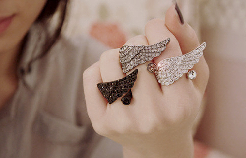 accessories, cute, fashion, rings, wings