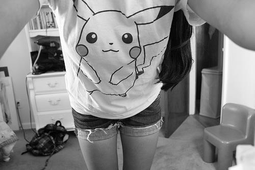 adorable, amazing, b&w, beautiful, black, black & white, black and white, cute, fashion, female, girl, gray, image, perfect, photo, photography, pikachu, pokemon, pretty, shorts, style, white