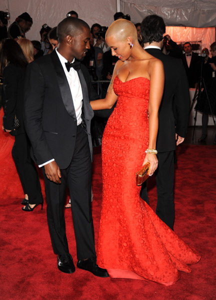 adorable, amber rose, black, couple, cute, dress, gorgeous, kanye west, love, red