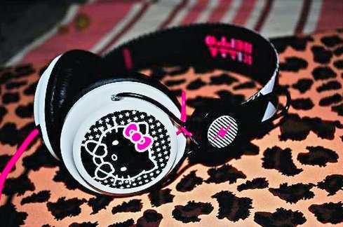 adorable, cute, head phone, headphone, hello kitty