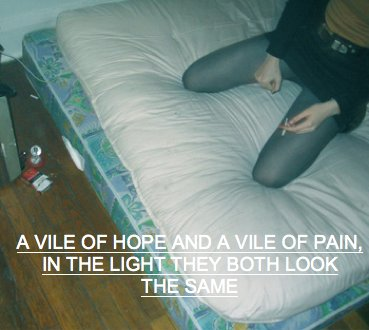 alice glass, arcade fire, bed, bold, cigarettes, crystal castles, depressed, dirty, doe deer, girl, hope, knees, lyrics, matress, old, pain, poor, sayings, skirt, smoking, songs, text, tights, truth, vintage, wood