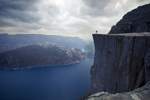 alone, cliff, jump, life, norway, ocean, photo, sea, sky, view