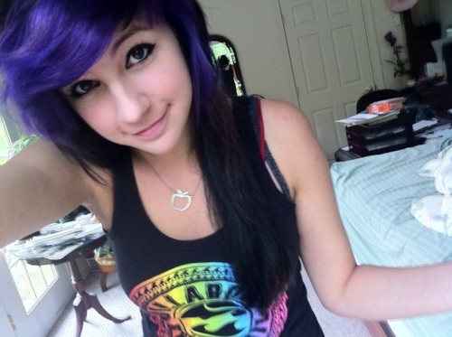 alternative, beautiful, bicolor, bicolor hair, black, black hair, bleached hair, colored hair, colorful, colorful hair, coloured hair, cute, dark hair, dye, dyed hair, girl, gorgeous, hair, hairstyle, iamcraigeryowens, makeup, purple, purple hair, violet