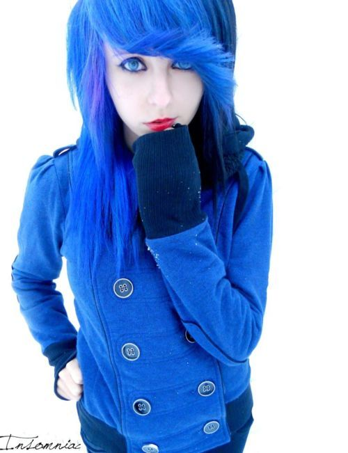 alternative, blue, blue hair, coat, colored hair