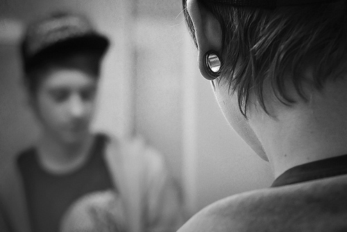 alternative, boy, cute, flesh tunnel, photography, plugs, stretched ears