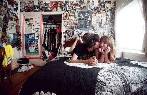 amor, beijo, couple, cute, fashion, quarto
