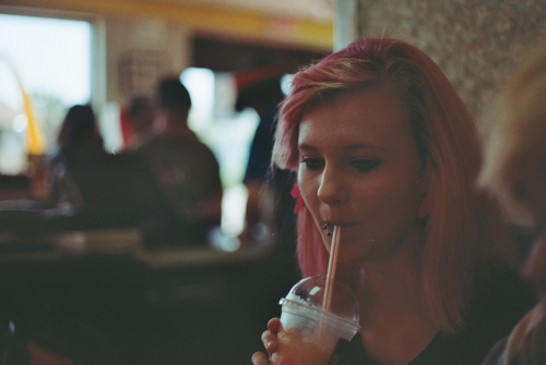 analog, film, food, girl, hair, low-fire, photography, pink hair