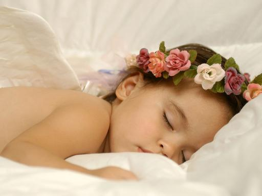 angel, baby, cute, fairy, flowers, girl, sleeping