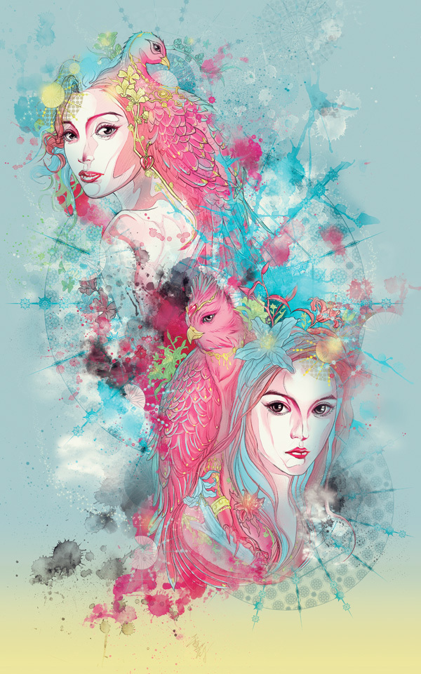 animal, art, artistic, beautiful girl, big eyes, bird, blue, comic, cool, creative, digital art, fantasy, fascinating, flower, girls, girly, heart, illustration, magical, pink, sean wei, splatter, surreal, wonderful