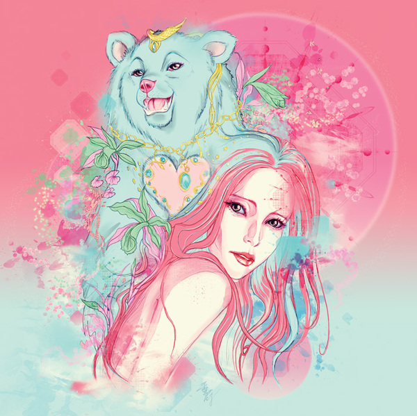 animal, art, bear, beautiful girl, blue, blue bear, comic, cool, creative, fantasy, fascinating, flower, girly, heart, illustration, magical, pink hair, sean wei, surreal, wonderful