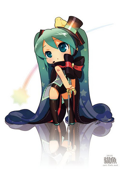 anime, bird, cute, gold topped cane, hatsune miku