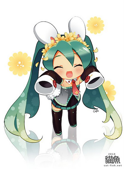 anime, cute, flowers, hatsune miku, miku