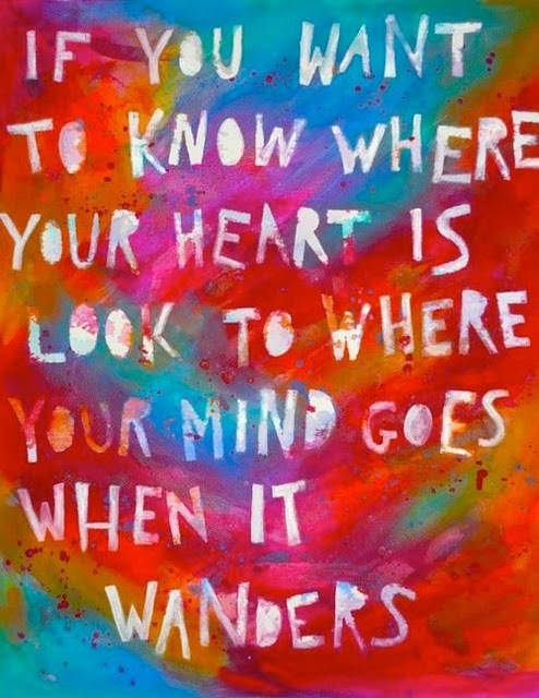 aqua, blue, bright, colorful, colors, heart, ink, letters, mind, orange, paint, painting, pink, quotes, red, spray, text, typography, wander, words