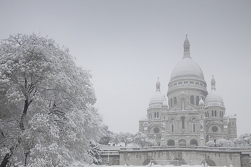 arbol, basilica, beautiful, black and white, blanco y negro, church, cool, europa, europe, france, francia, hermoso, invierno, lucy, nice, nieve, paris, photo, photography, sacre coeur, snow, travel, tree, winter
