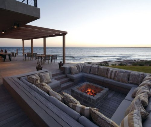 architecture, beach, couch, cozy, design, evening, fire, luxury, nature, nice, ocean, open