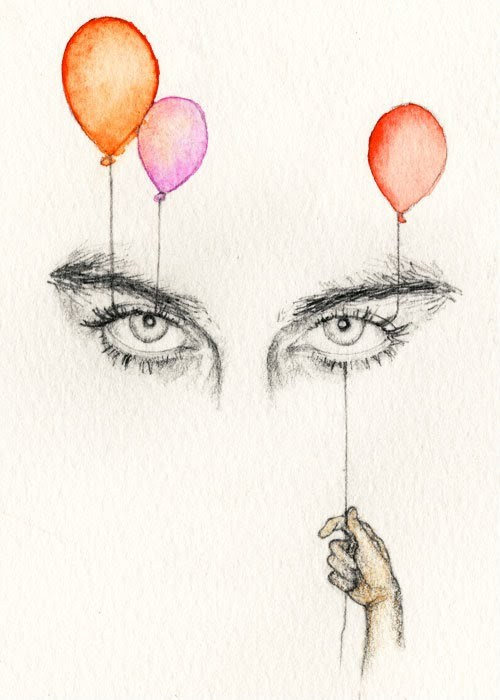 art, balloons, cool, creative, draw, drawing, eyes, illustration, lineart
