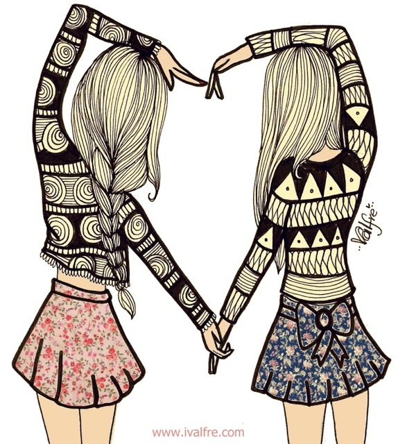 art, best friends, floral print, friend, friends, friendship quotes, girl, girls, heart, illustration, ilse valfre, love, love quotes, valfre