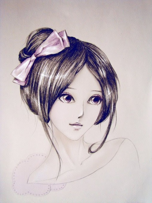 art, big eyes, creative, cute, draw, drawing, girl, girly, hair, illustration, lineart, loop