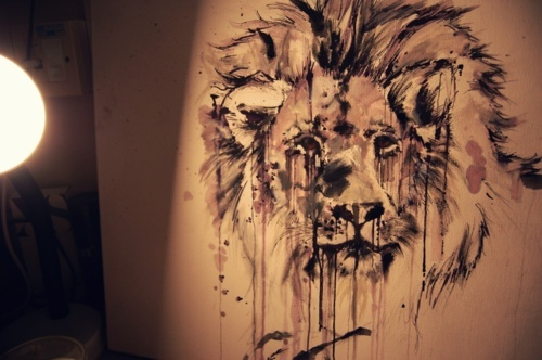 art, canvas, drip, lion, oil