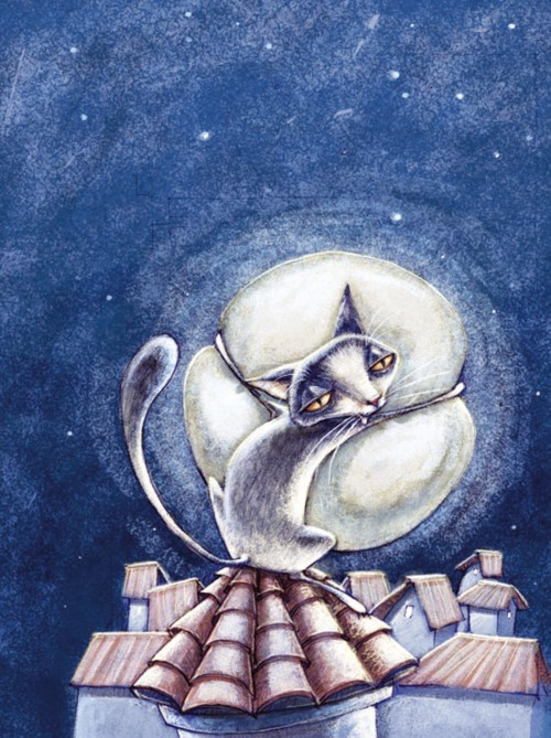 art, cat, cats, eugenia nobati, illustration, moon, night, stars