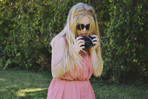 artsy, braid, camera, colour, cute, dress, fashion, film, fun, girl, hair, lense, nail polish, photography, pink, plait, quirky, vintage