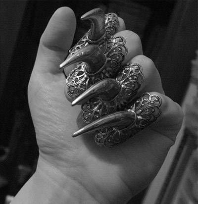 ashion, bijou, bijouterie, claws, creature, dark, darkness, fear, githic, goth, hand, horror, jewelry f, macabre, nails, night, ring, rings, silver, wish
