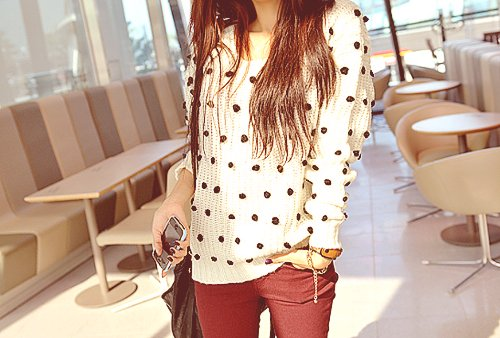 asian, asian fashion, cute, fashion, jumper, k fashion, knit, phoptography, polka dots, red skinnies, skinnies, sweater, white and red
