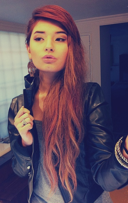 asian, beautiful, brown hair, brunette, face, fashion, girl, gorgeous, hair, leather jacket, lips, long hair, make up, nose piercing, nose ring, piercing, pretty, style, woman