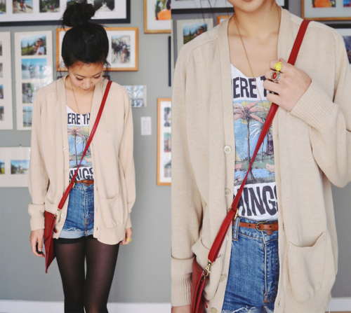 asian fashion, cardigan, casual, crossbody bag, cute