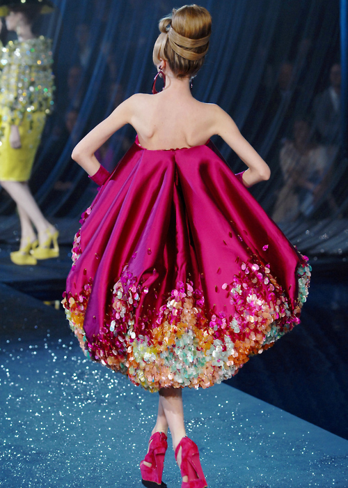 awesome, dress, fashion, girl, hair, model, pink, pink dress, pink shoes, pretty, runway, sexy, shoes, sparkly, week