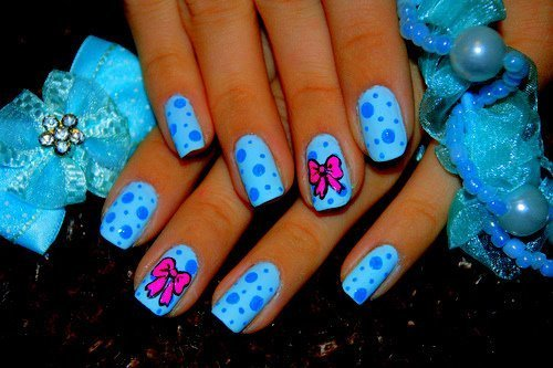 awsome, beautiful, blue, cute, nail, nail art, nail polish, nails, nice, photography, pink, ribon