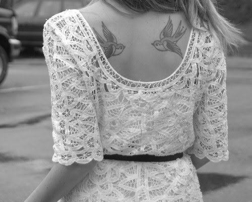b & w, back, bird, black and white, blonde, dress, girl, photo, photograph, photography, picture, tattoo