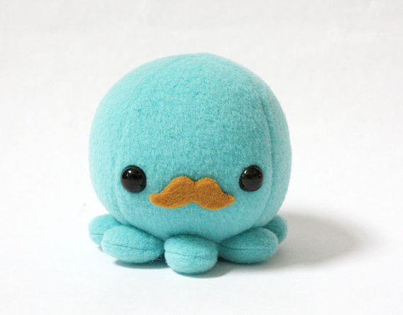 baby blue, cute, handmade, kawaii, mustache, octopus