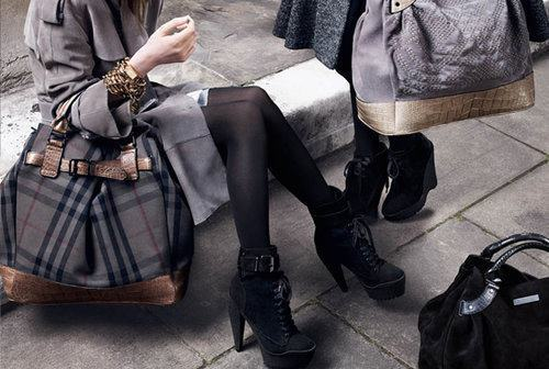 bag, boots, burberry, burberry shoes, fashion, handbag, heels, pumps, socks, style, trenchcoat