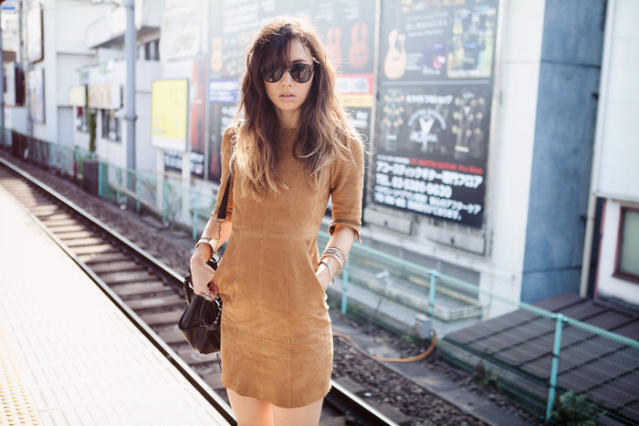 bag, brunette, cute outfit, dress, fashion