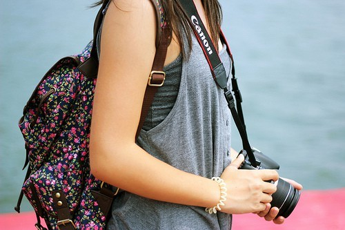 bag, camera, canon, girl, love