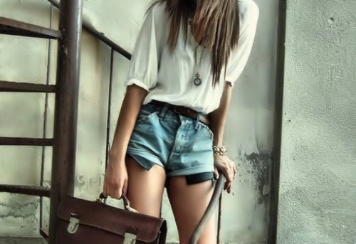bag, clothes, cute, girl, pretty, shirt, short