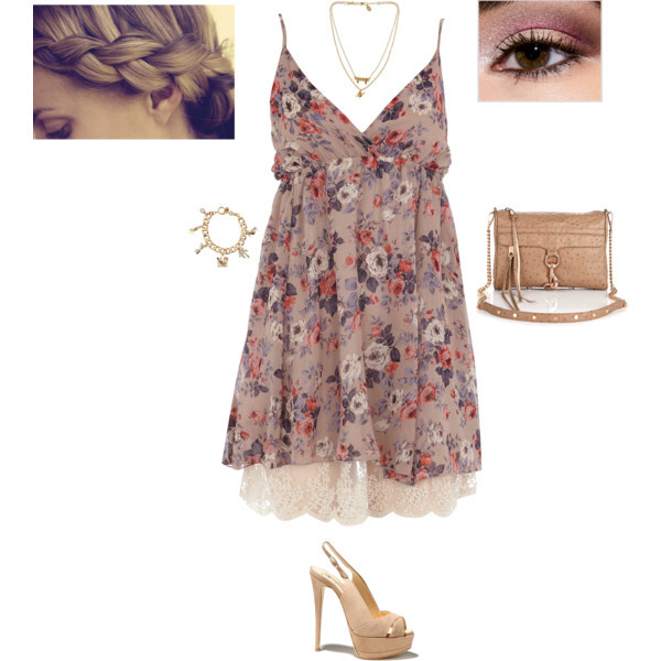 bags, brecelets, eyes, floral dresses, hairstyles, necklaces, polyvore, romantic, sadals