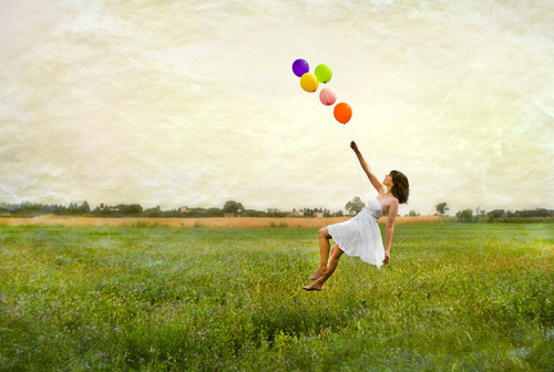 balloons, dress, field, girl, hair, photography