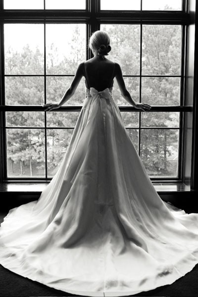 b&w, black and white, bow, bun, gown