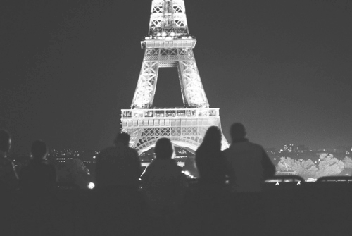 b&w, black and white, city, city lights, eifel tower