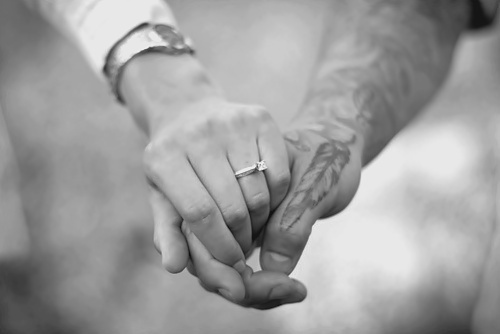 b&w, black and white, couple, hand, hands, holding hands, love, ring, tattoo, tattooed, tattoos