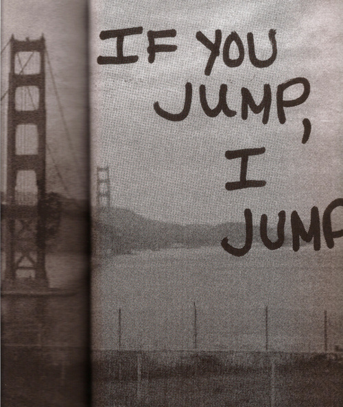 b&w, jump, love, suicide, text