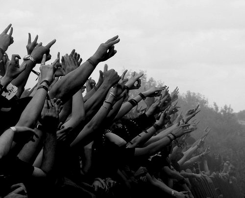 band, black and white, crowd, festival, love, miss, music, people, rock