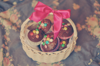 basket, blue, bow, candy, chocolate, cupcakes, floral, food, pink, ribbon, sprinkles, vintage, white, yummy