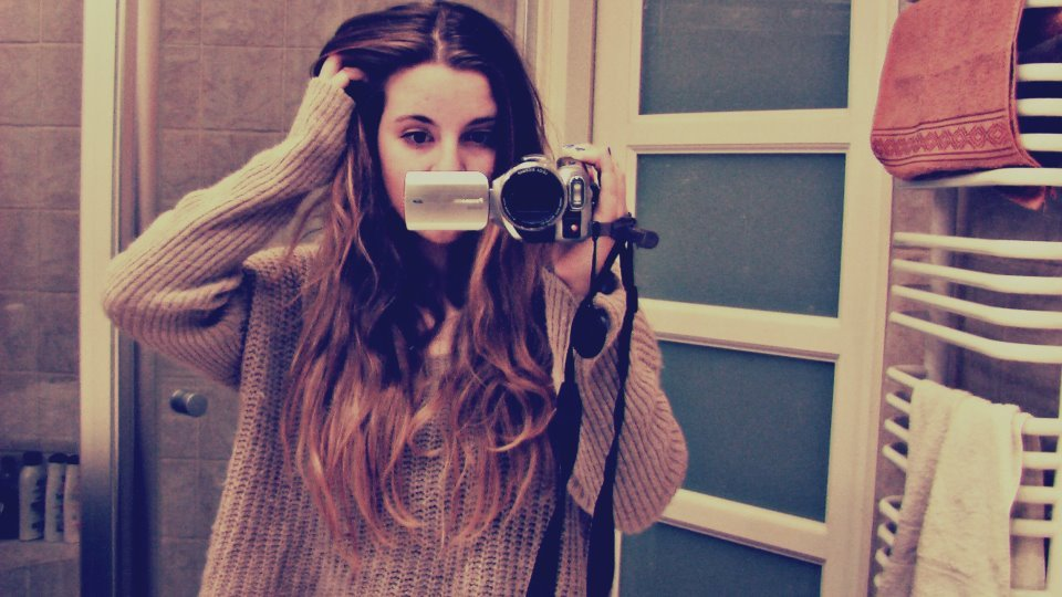 bathroom, beige, camera, eyes, girl
