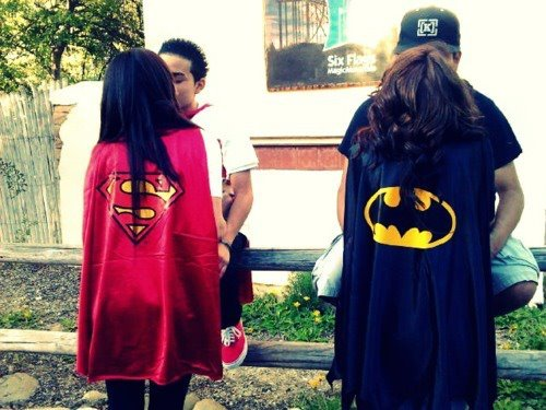 batman, boy, girl, love, superman