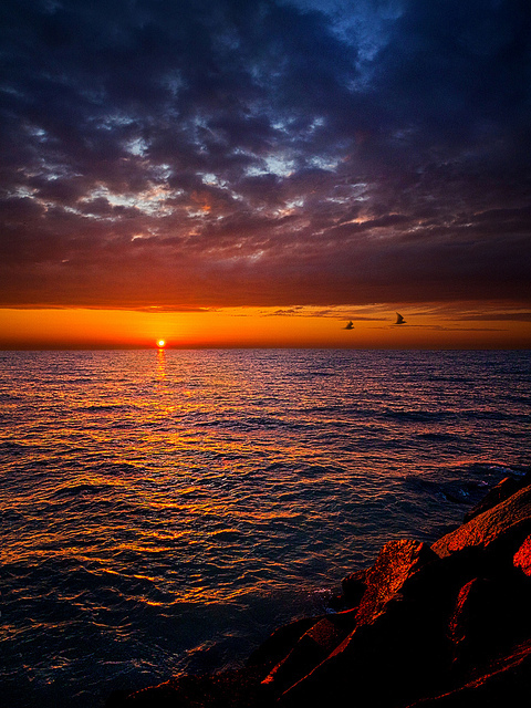 bay, breath taking, colors, colours, dawn, dusk, lake, landscape, ocean, orange, sea, sky, sunrise, sunset, water, yellow