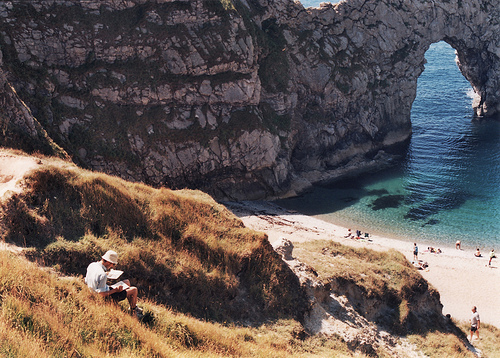 beach, cliffs, coast, ocean, people