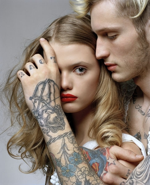beard, beauty, blonde, boy, eyes, face, flowers, girl, hold, lip piercing, lips, lipstick, look, love, man, photography, piercing, red lips, skin, tattoo, text, together, touch, woman